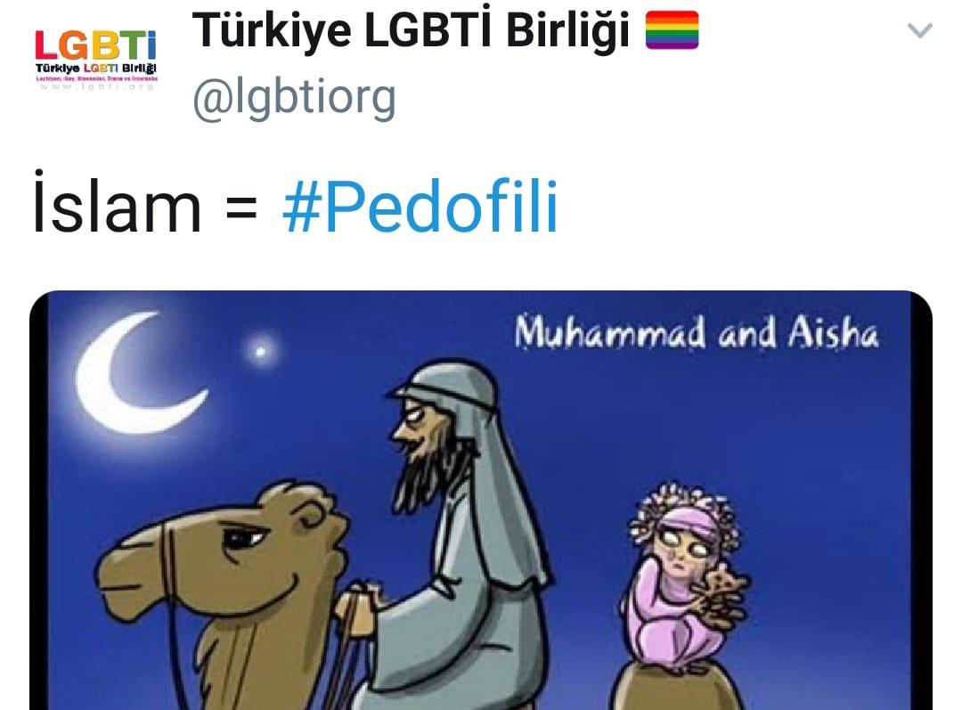 LGBTİ Birliği'nden küstah paylaşım: İslam = pedofilidir