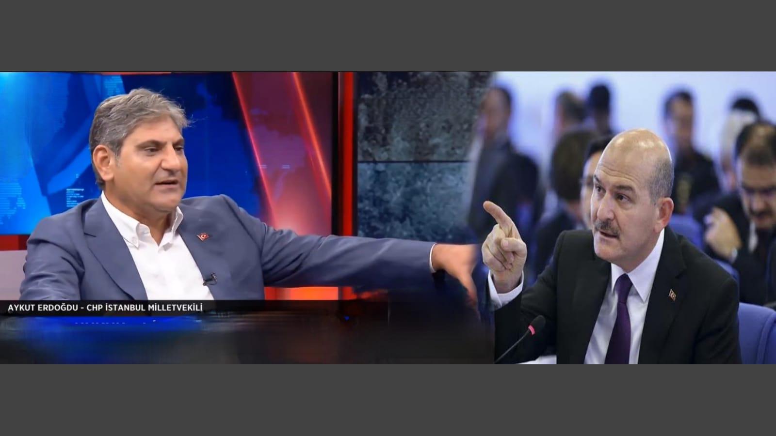 """CHP Milletvekili Aykut Erdoğdu İçişleri Bakanı Soylu'ya """"Mafya lideri"""" dedi."""
