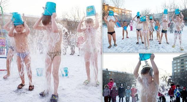 Anaokulu çocuklarına virüse karşı eksi 25 derecede buz banyosu