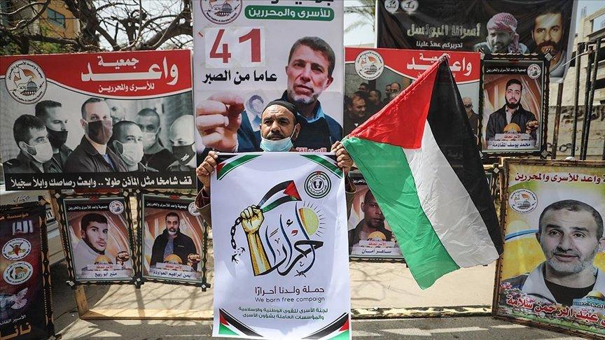 Gazzeliler, İsrail hapishanelerindeki Filistinlilere destek için eylem yaptı
