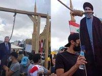 Lübnan'da halk Nasrallah ve Başbakan için darağacı kurdu